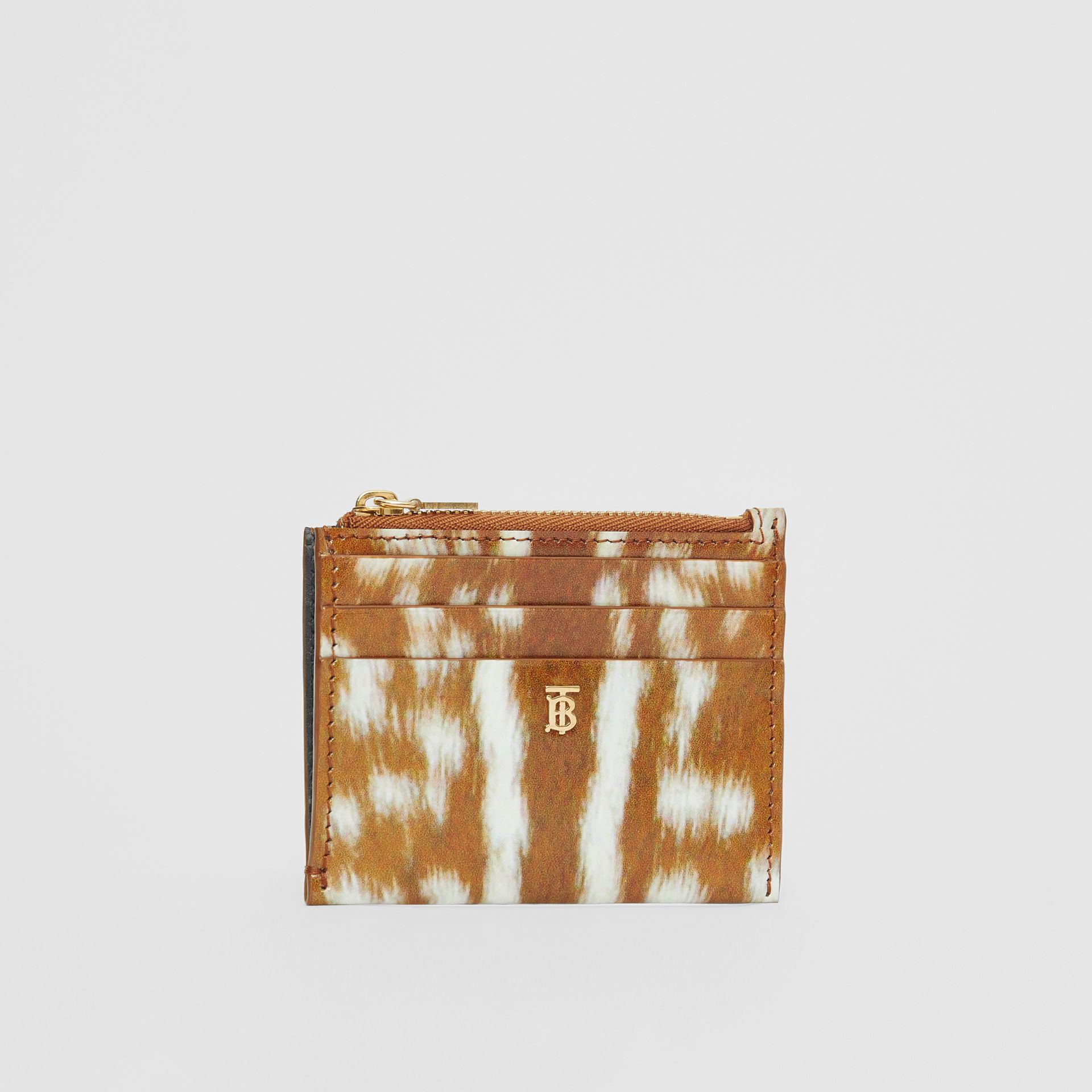 Deer Print Leather Zip Card Case in Malt Brown - Women | Burberry - gallery image 3
