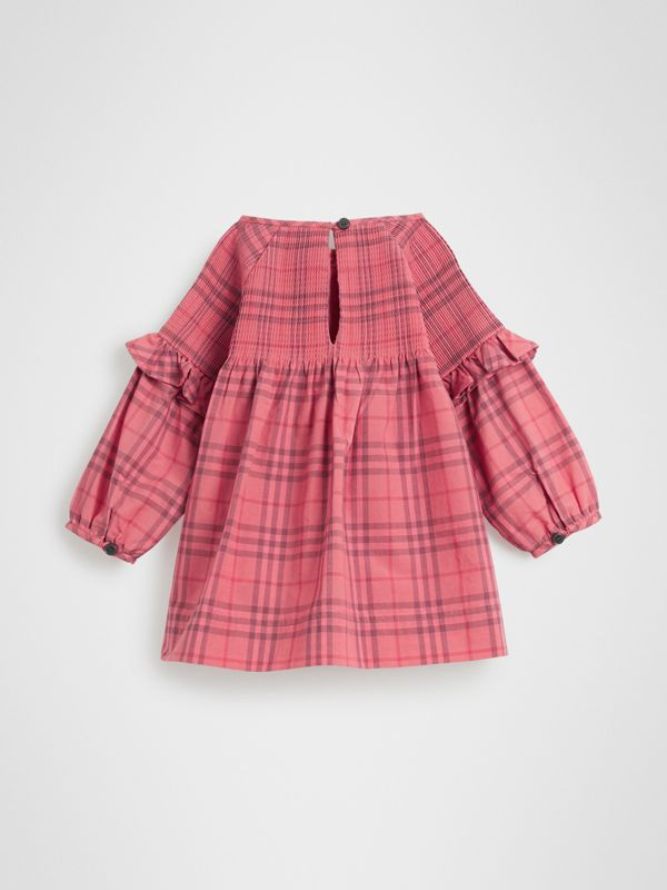 Ruffle Detail Check Cotton Dress in Coral Red - Children | Burberry - cell image 3