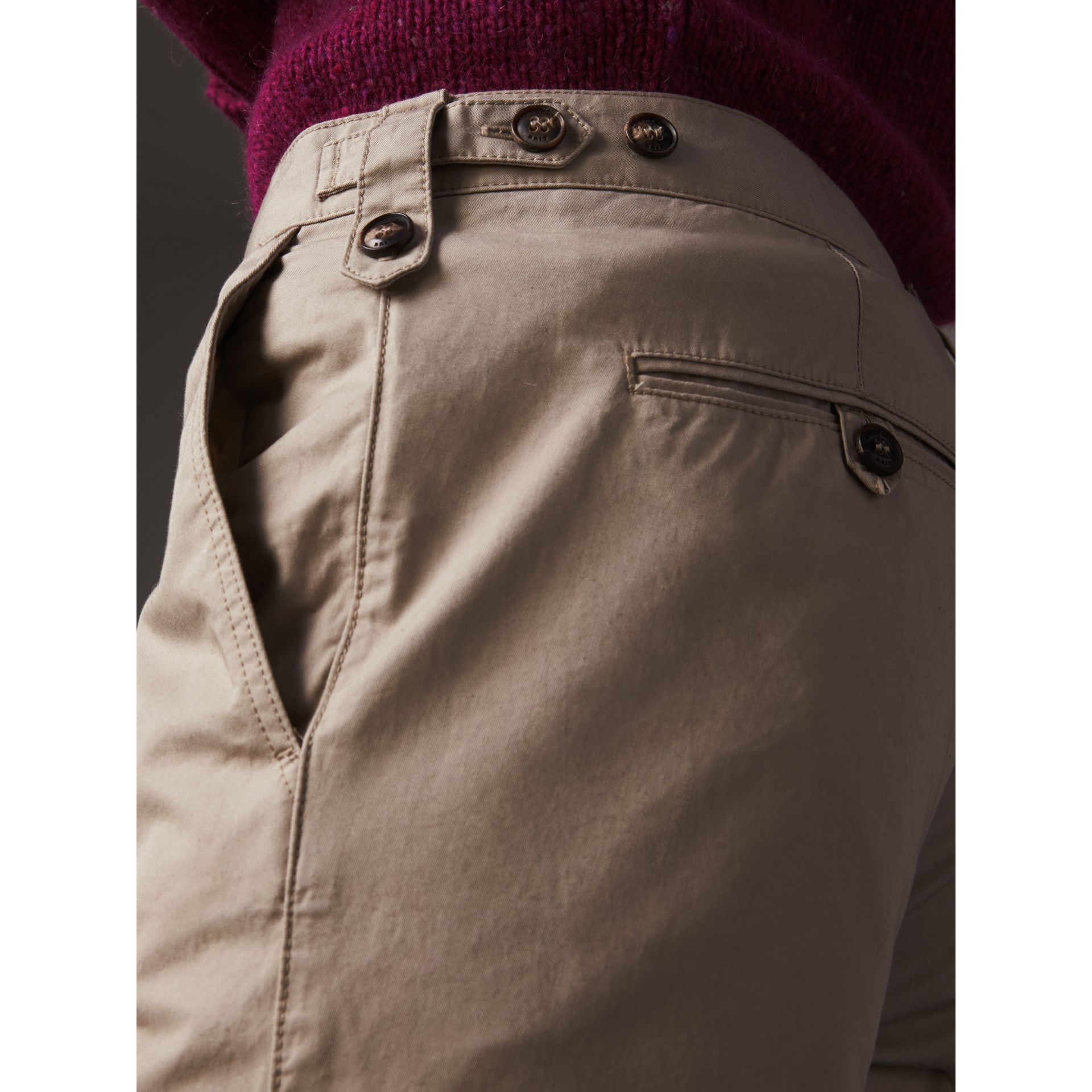 Straight Fit Cotton Chinos in Taupe - Men | Burberry - gallery image 1