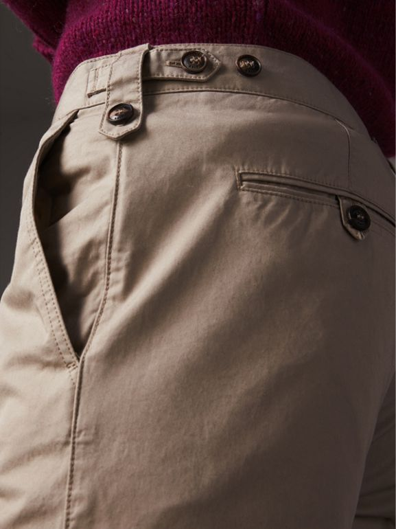 Straight Fit Cotton Chinos in Taupe - Men | Burberry - cell image 1