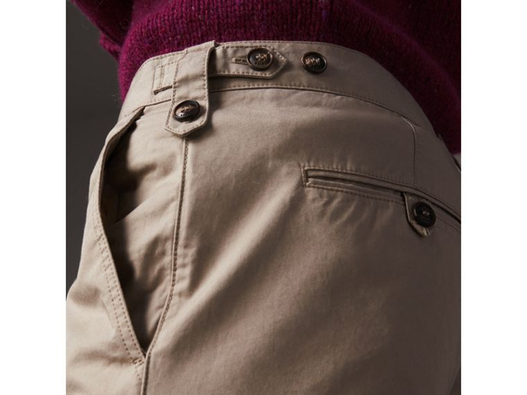 Straight Fit Cotton Chinos in Taupe - Men | Burberry Canada - cell image 1