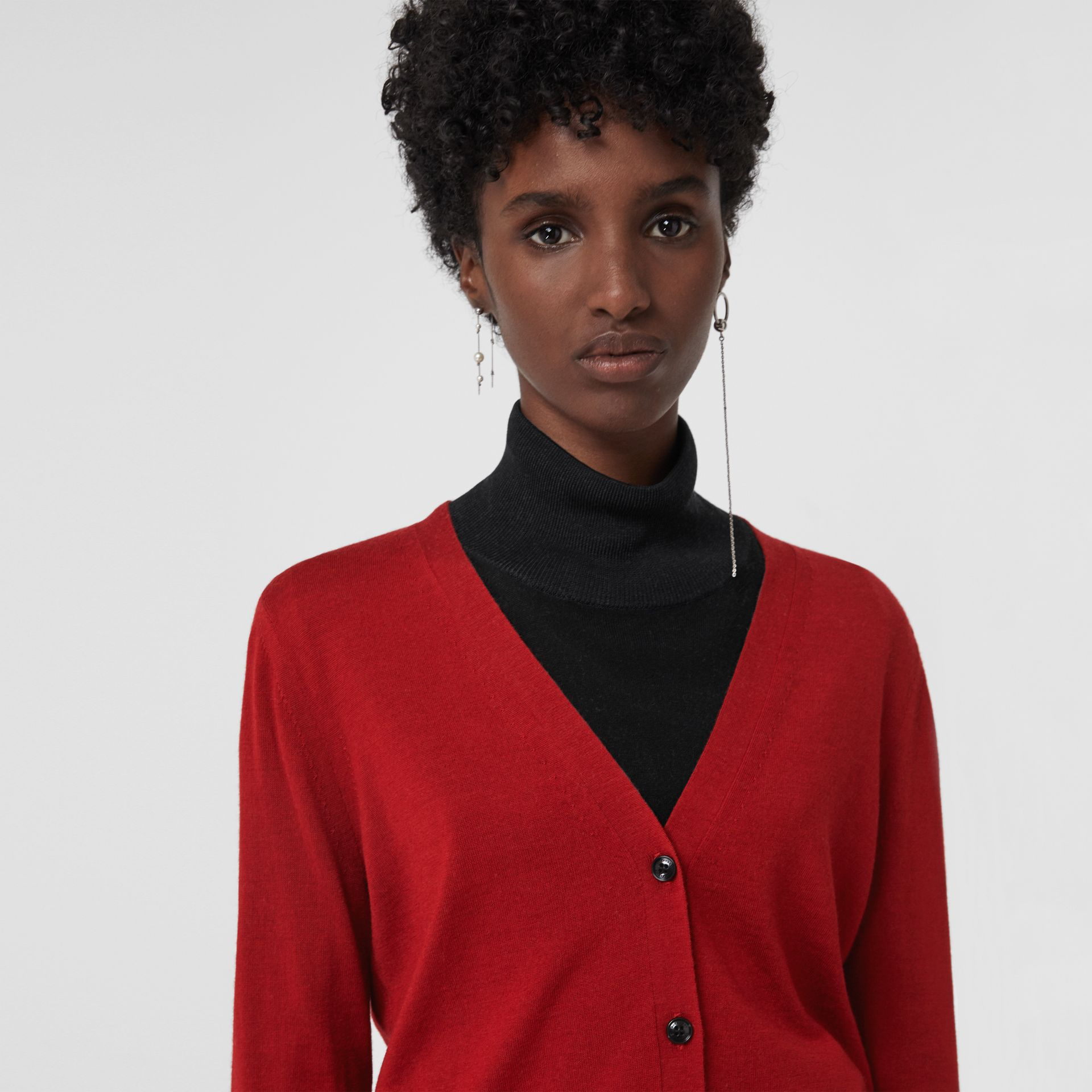 Check Detail Merino Wool Cardigan in Parade Red - Women | Burberry United Kingdom - gallery image 1
