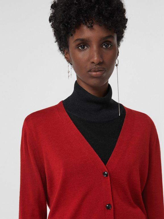 Check Detail Merino Wool Cardigan in Parade Red - Women | Burberry United States - cell image 1
