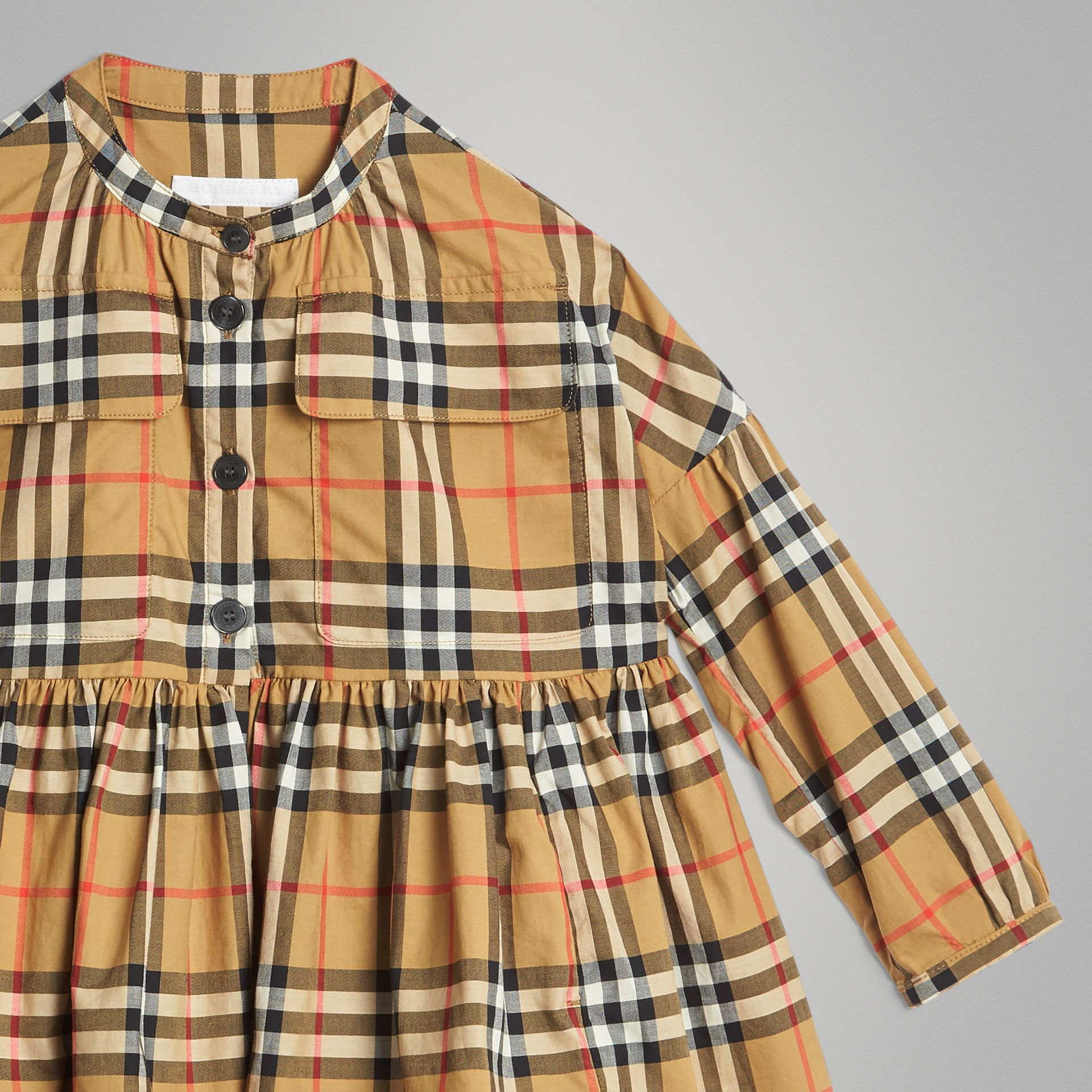 Gathered Sleeve Vintage Check Cotton Dress in Antique Yellow | Burberry Singapore - gallery image 4