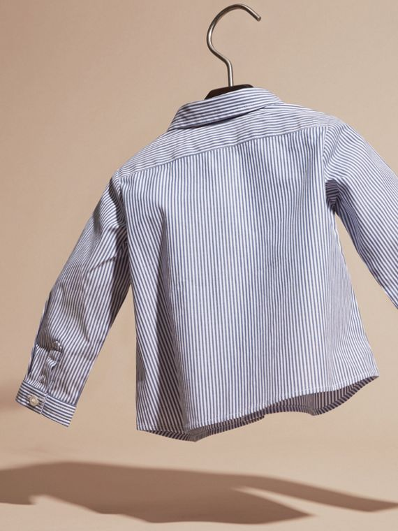 Marine blue Button-Down Collar Striped Stretch Cotton Shirt - cell image 3