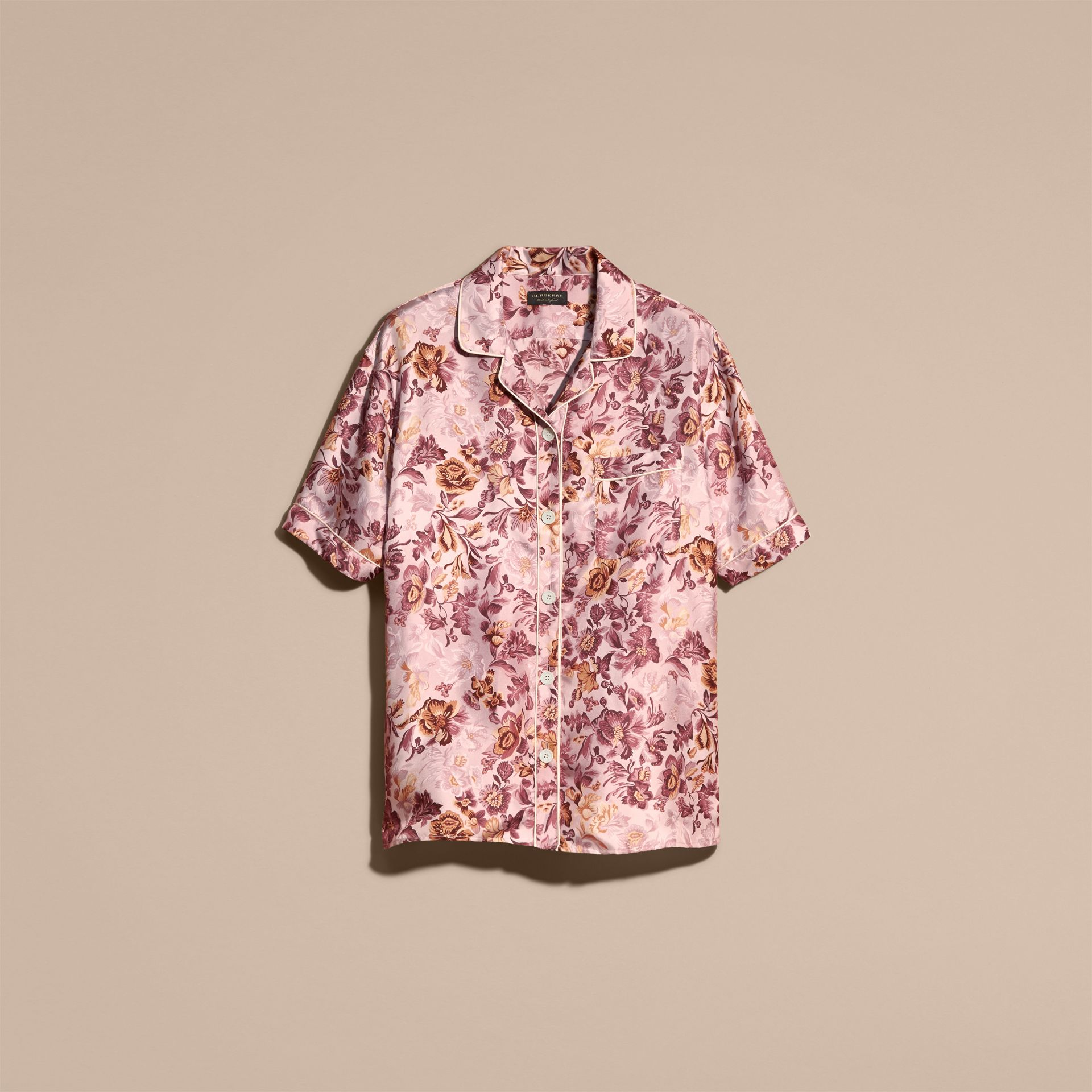 Pink heather Short-sleeved Floral Print Silk Pyjama-style Shirt Pink Heather - gallery image 4