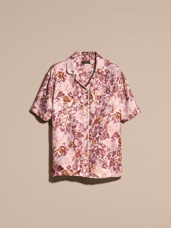 Pink heather Short-sleeved Floral Print Silk Pyjama-style Shirt Pink Heather - cell image 3