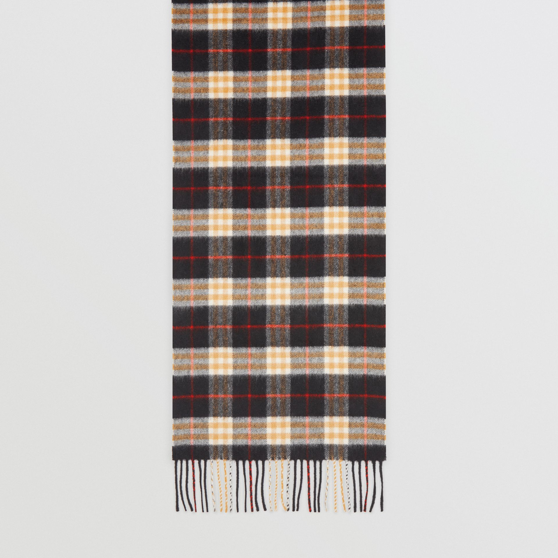 Check Cashmere Scarf in Black | Burberry Australia - gallery image 4