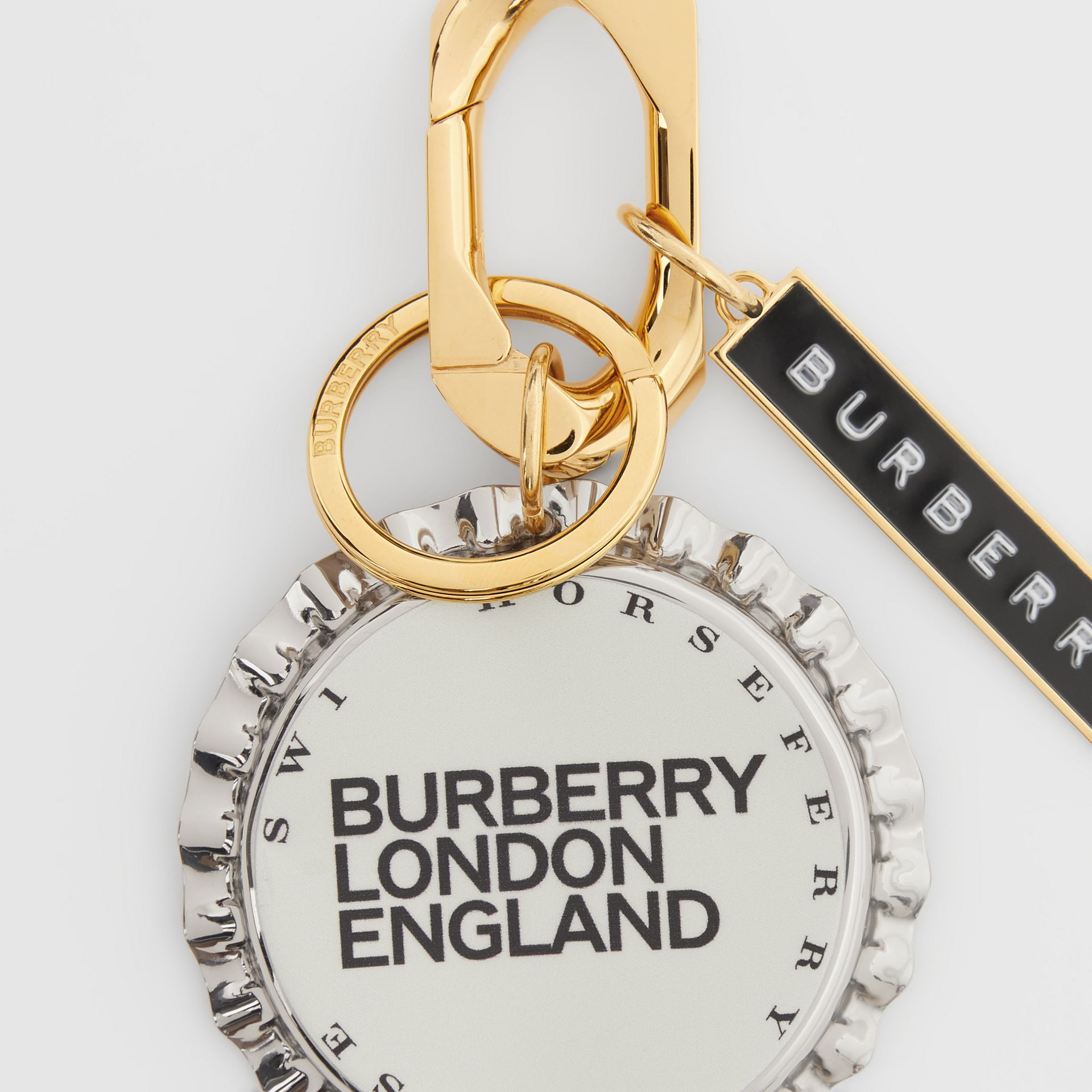 Gold and Palladium-plated Bottle Cap Charm in White - Women | Burberry - gallery image 1
