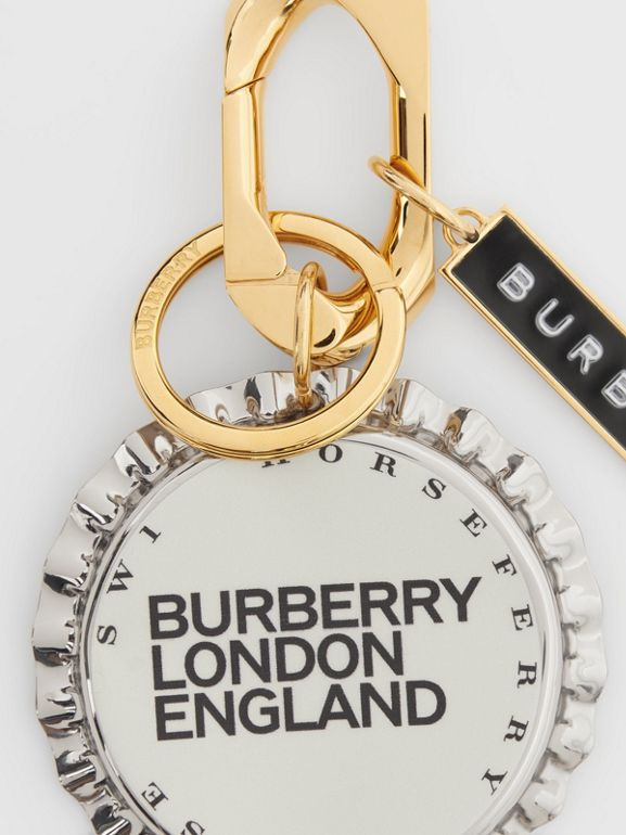 Gold and Palladium-plated Bottle Cap Charm in White | Burberry - cell image 1