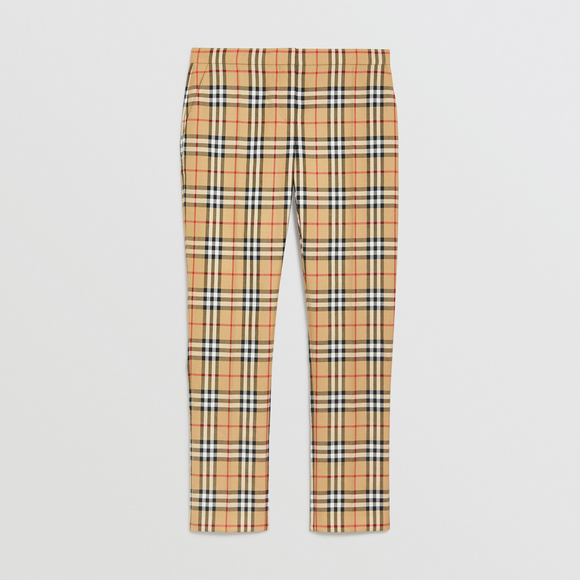 Vintage Check Wool Cigarette Trousers in Antique Yellow - Women | Burberry United Kingdom - gallery image 3