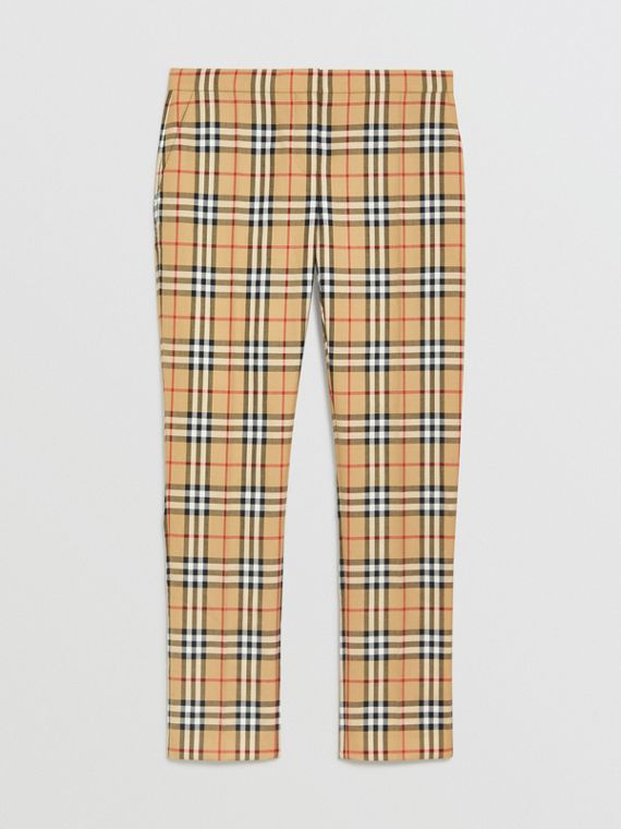 Zigarettenhose aus Wolle mit Vintage Check-Muster (Antikgelb)