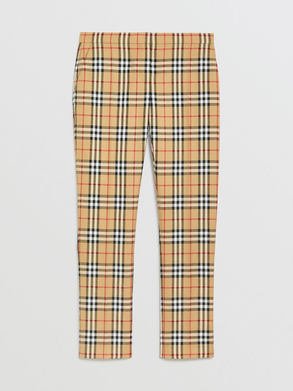 Vintage Check Wool Cigarette Trousers in Antique Yellow - Women | Burberry - cell image 3