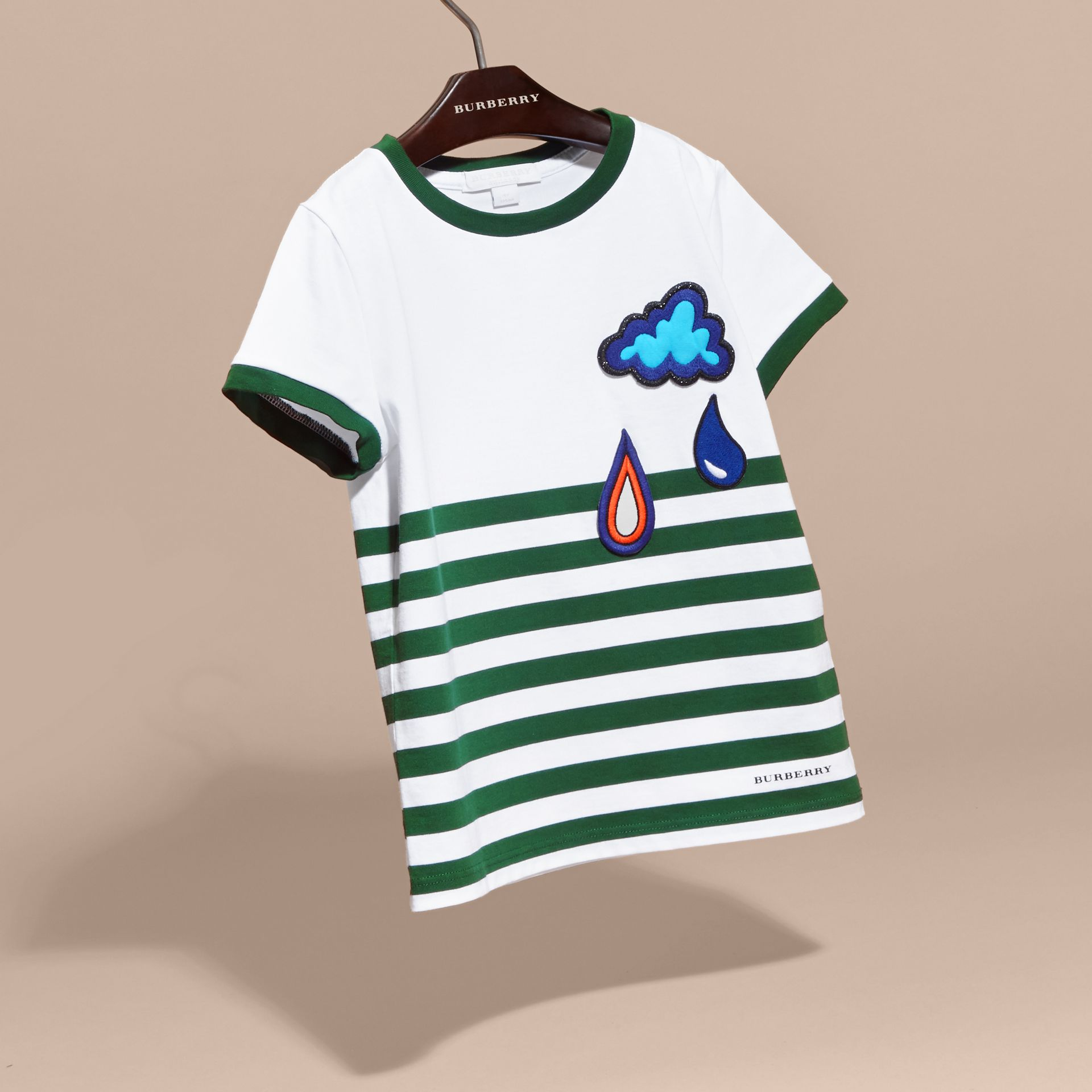 Racing green Striped Cotton T-shirt with Appliqués - gallery image 3