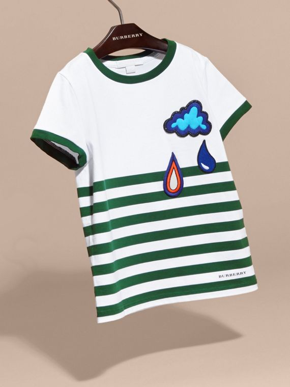 Racing green Striped Cotton T-shirt with Appliqués - cell image 2