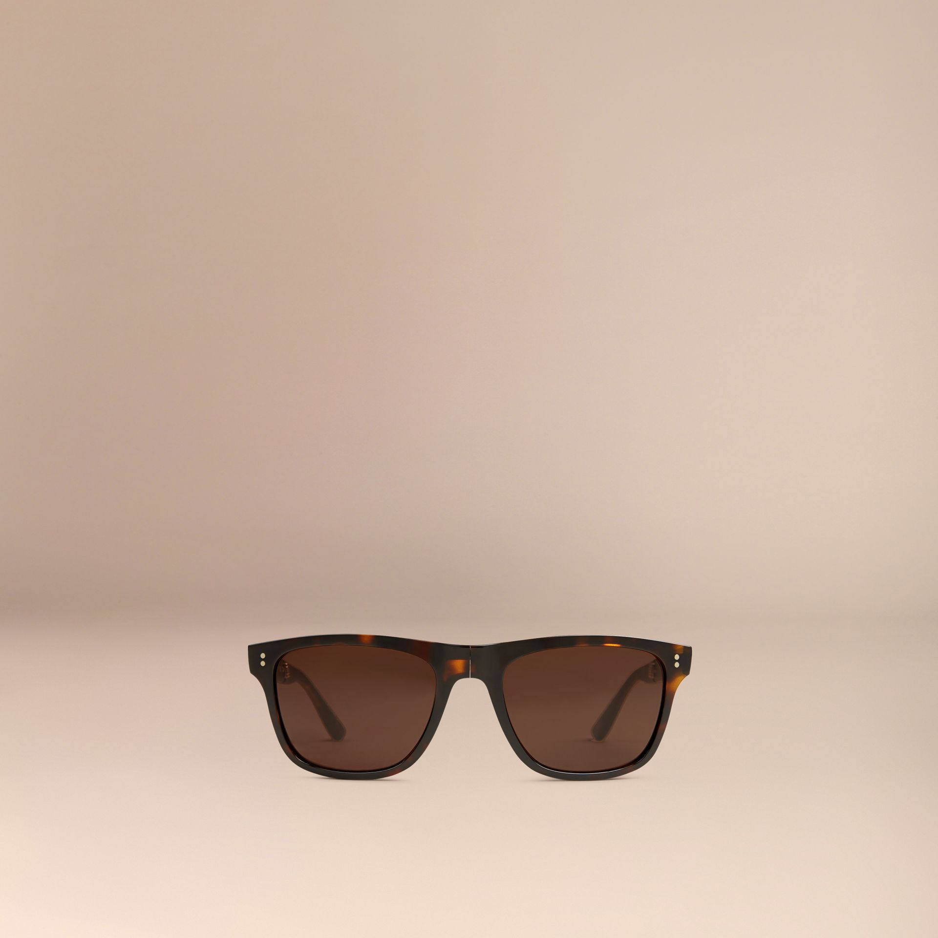 Folding Rectangular Frame Sunglasses in Dark Brown - Men | Burberry Canada - gallery image 2