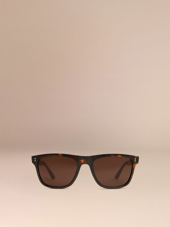 Folding Rectangular Frame Sunglasses in Dark Brown - Men | Burberry United Kingdom - cell image 2