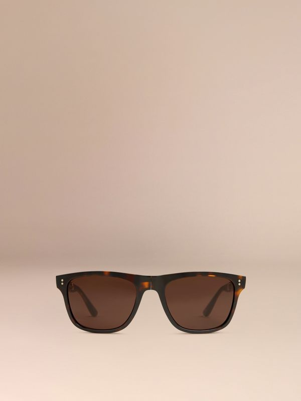 Folding Rectangular Frame Sunglasses in Dark Brown - Men | Burberry Canada - cell image 2