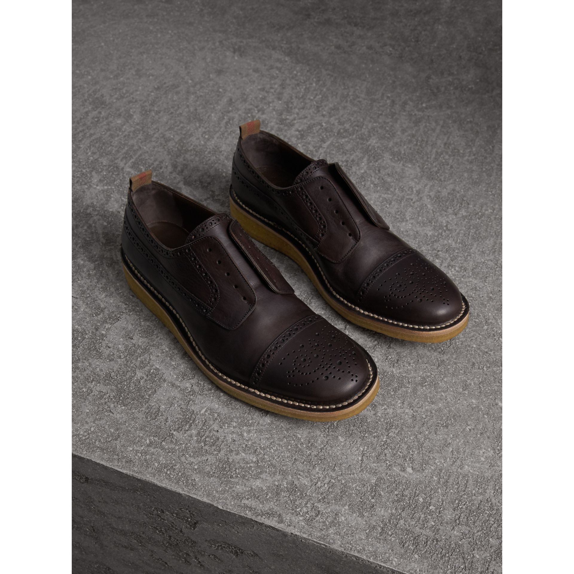 Raised Toe-cap Leather Brogues in Ebony - Men | Burberry Singapore - gallery image 1