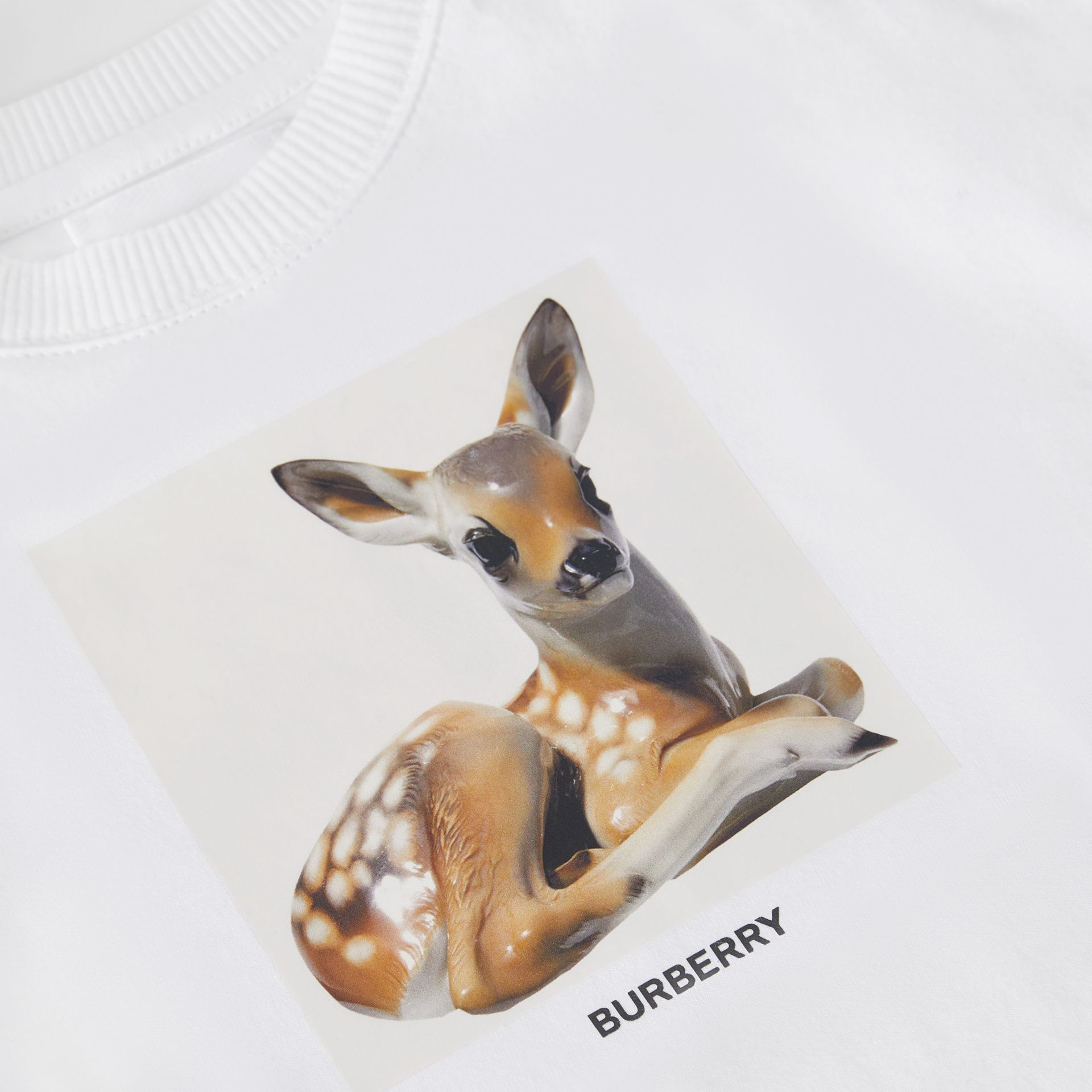 Deer Print Cotton Bodysuit in White - Children   Burberry United States - gallery image 1