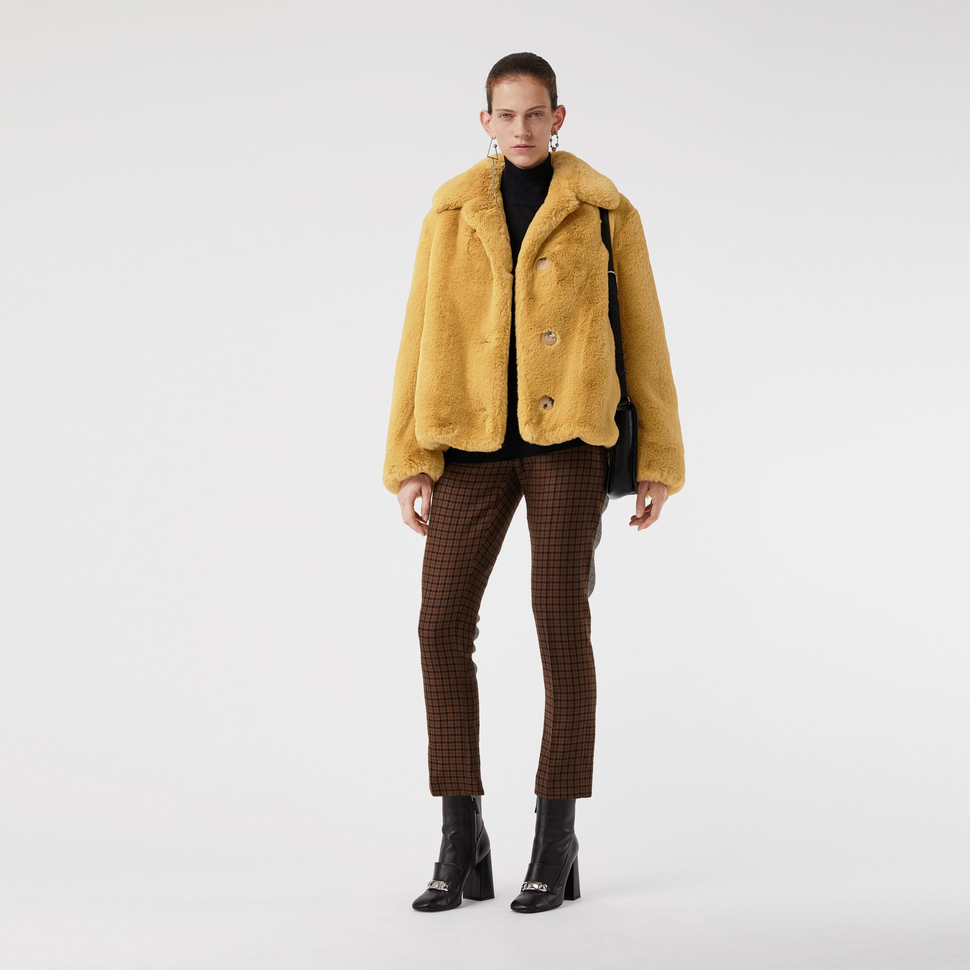 Faux Fur Single-Breasted Jacket in Ochre Yellow - Women | Burberry Australia - gallery image 0