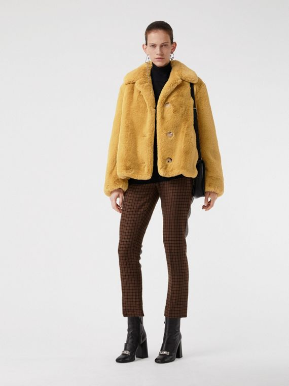 Faux Fur Single-Breasted Jacket in Ochre Yellow