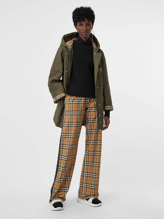 Vintage Check Cotton Drawcord Trousers in Antique Yellow