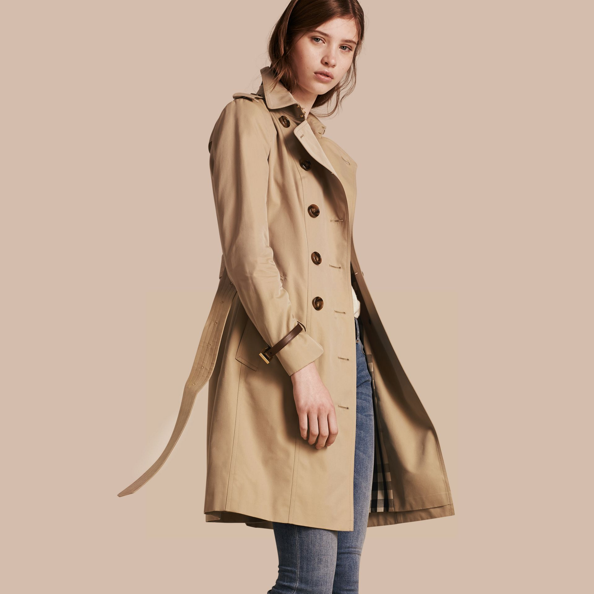 Honey Leather Trim Cotton Gabardine Trench Coat Honey - gallery image 1