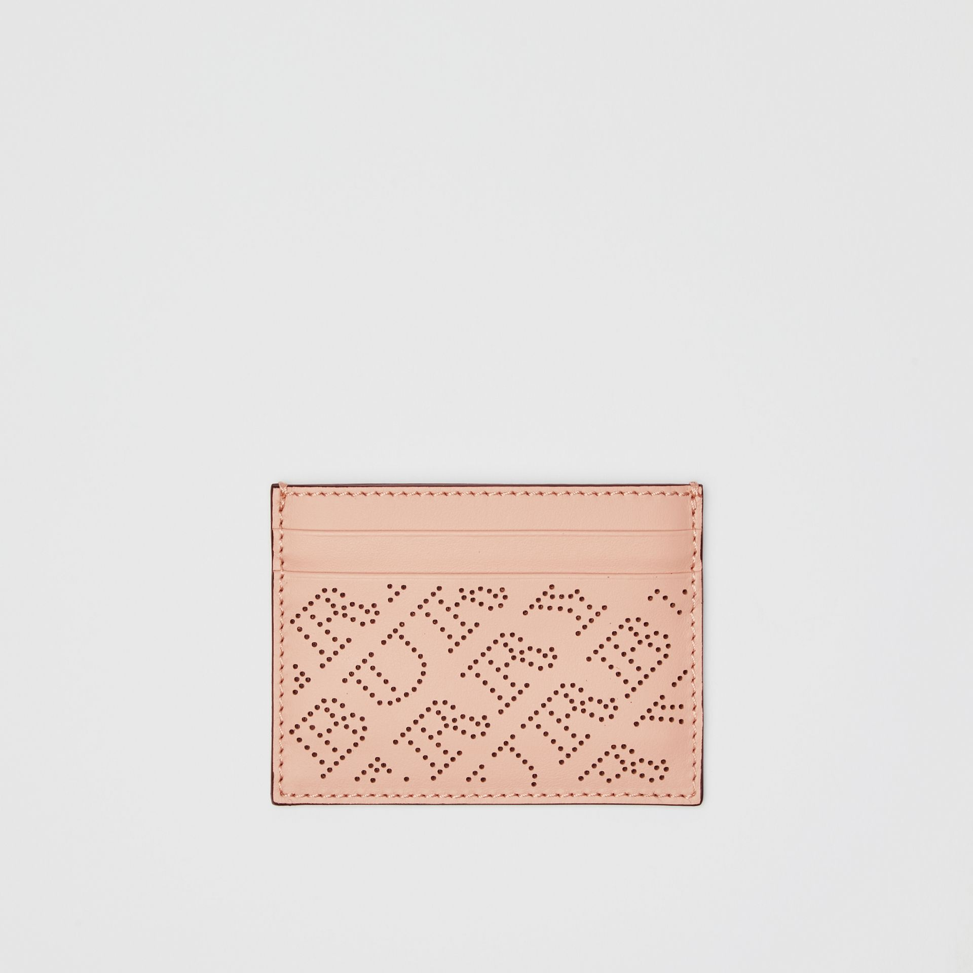 Perforated Logo Leather Card Case in Pale Fawn Pink - Women | Burberry - gallery image 0