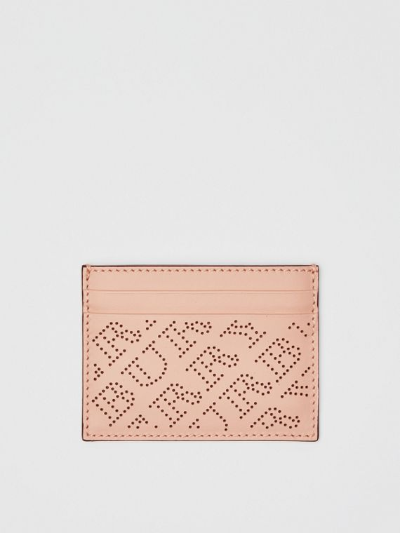 Perforated Logo Leather Card Case in Pale Fawn Pink