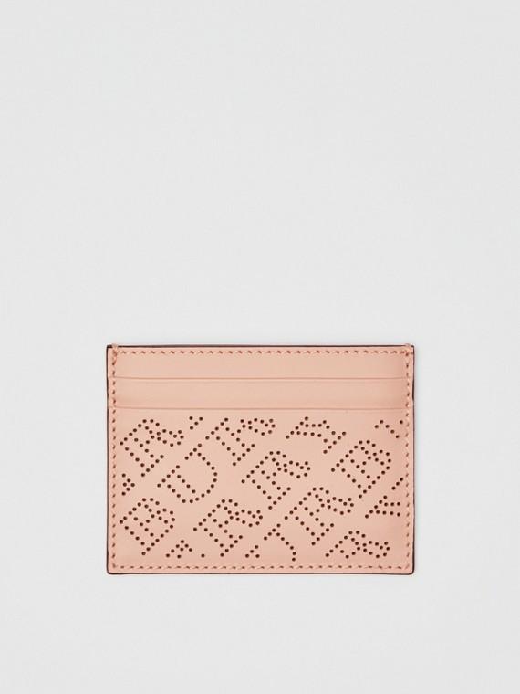 Porta-cartões de couro com logotipo perfurado (Rosa Fulvo Claro)