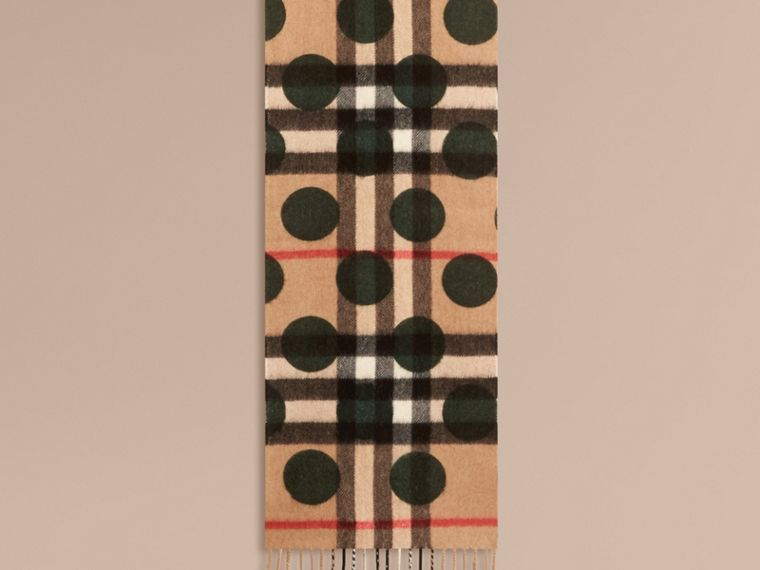 Dark forest green The Mini Classic Cashmere Scarf in Check and Dots - cell image 1