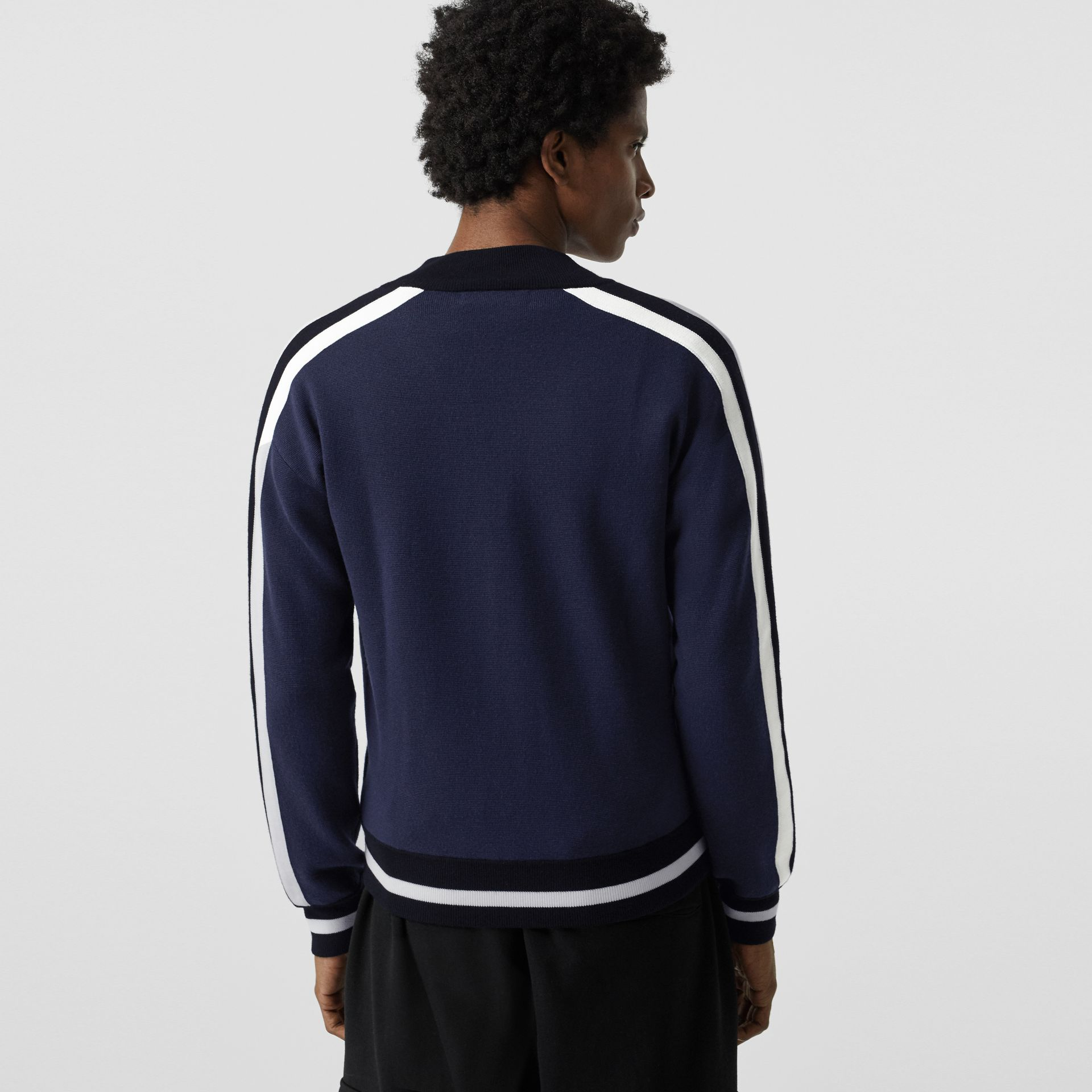 EKD Logo Merino Wool Varsity Jacket in Steel Blue - Men | Burberry Hong Kong - gallery image 2