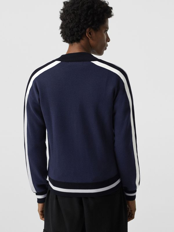 EKD Logo Merino Wool Varsity Jacket in Steel Blue - Men | Burberry - cell image 2
