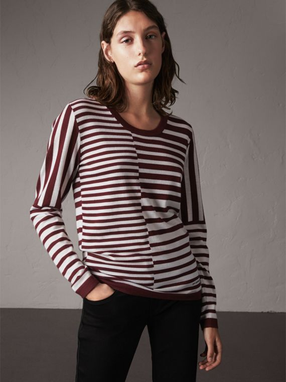 Graduated Stripe Merino Wool Sweater