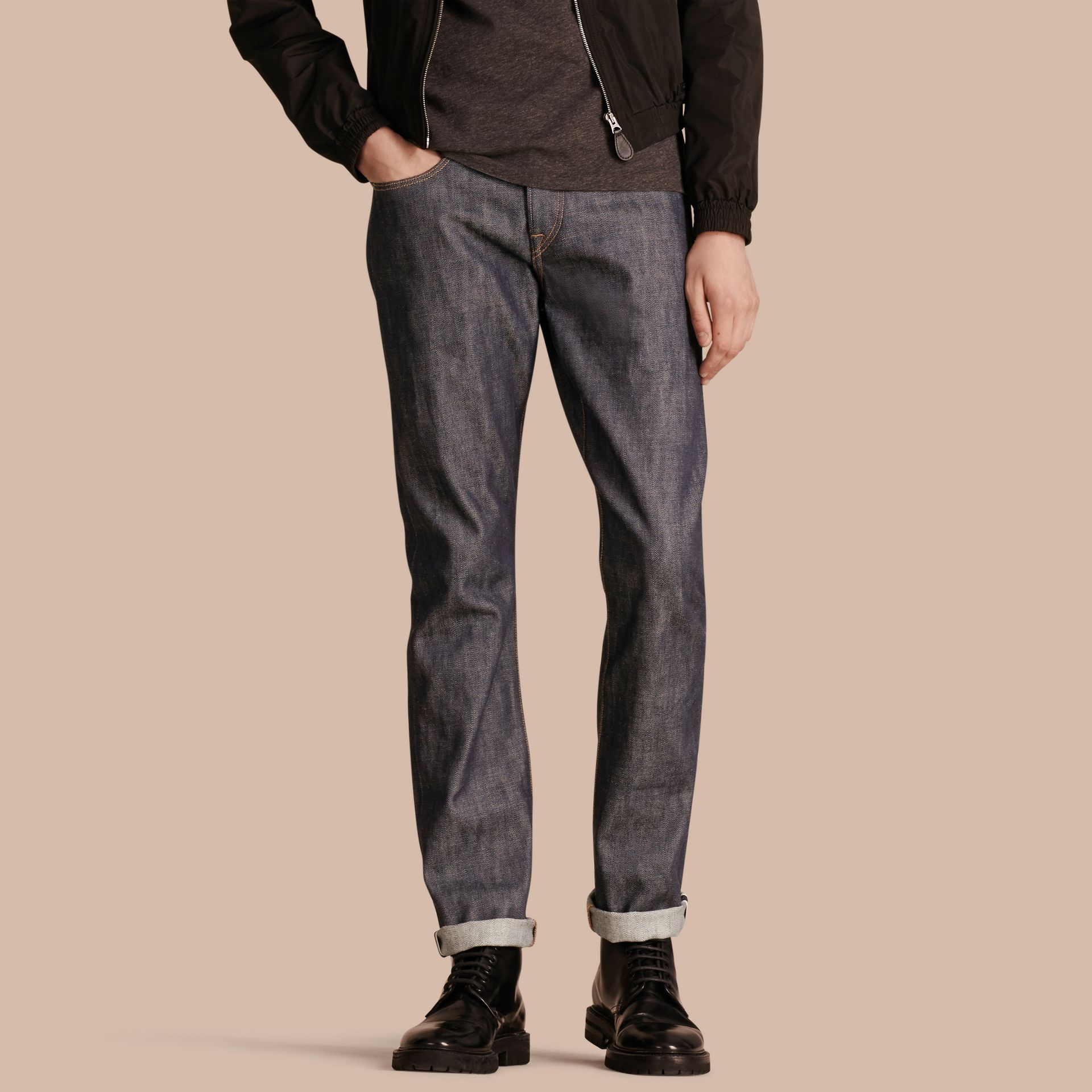 Straight Fit Deep Indigo Jeans - gallery image 1