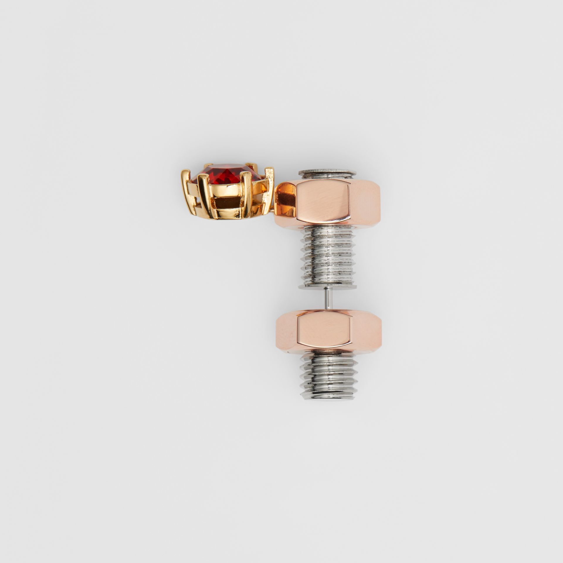 Crystal Charm Rose Gold-plated Nut and Bolt Earrings in Gold/palladium - Women | Burberry - gallery image 3