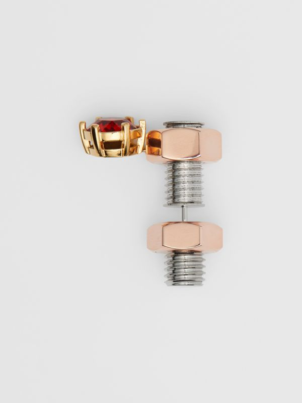 Crystal Charm Rose Gold-plated Nut and Bolt Earrings in Gold/palladium - Women | Burberry Singapore - cell image 3