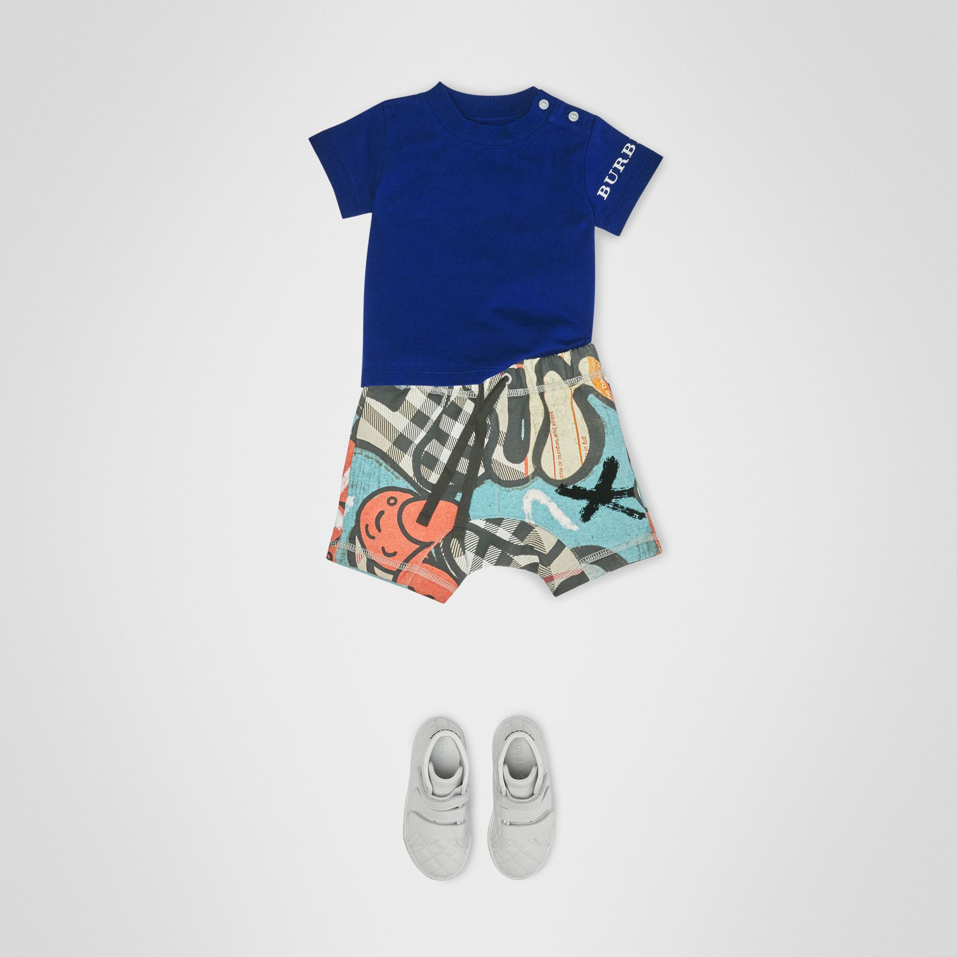 Logo Print Cotton T-shirt in Cobalt Blue - Children | Burberry - gallery image 2
