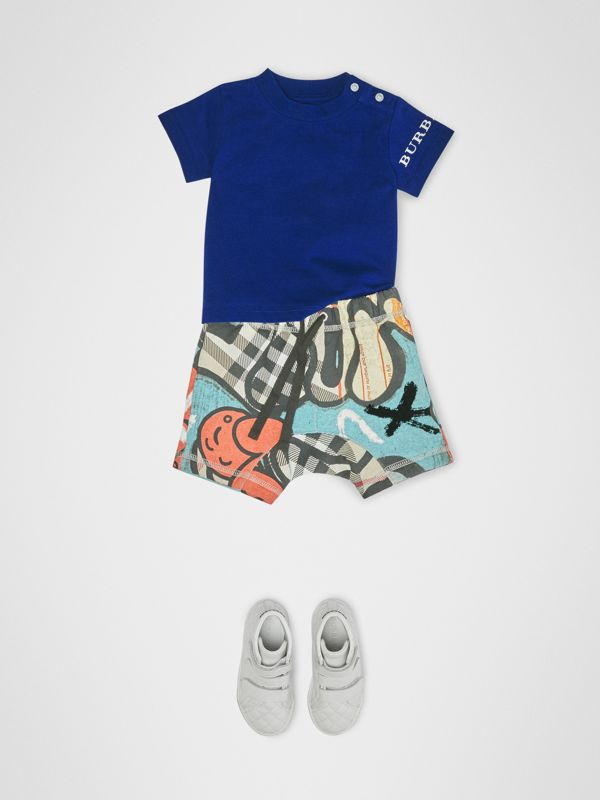 Logo Print Cotton T-shirt in Cobalt Blue - Children | Burberry United States - cell image 2