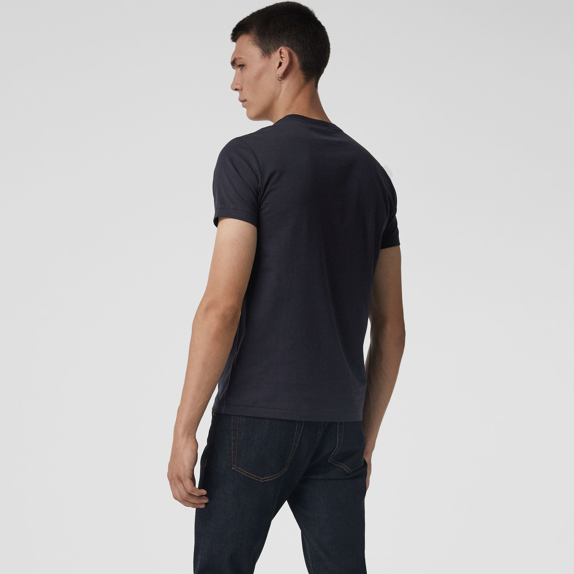 Cotton Jersey V-neck T-shirt in Navy - Men | Burberry - gallery image 2