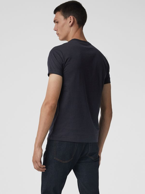 Cotton Jersey V-neck T-shirt in Navy - Men | Burberry - cell image 2
