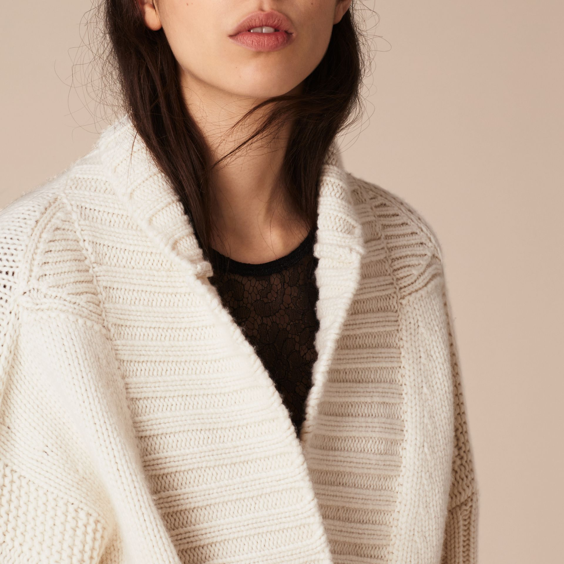 White Knitted Cashmere Belted Cardigan - gallery image 6