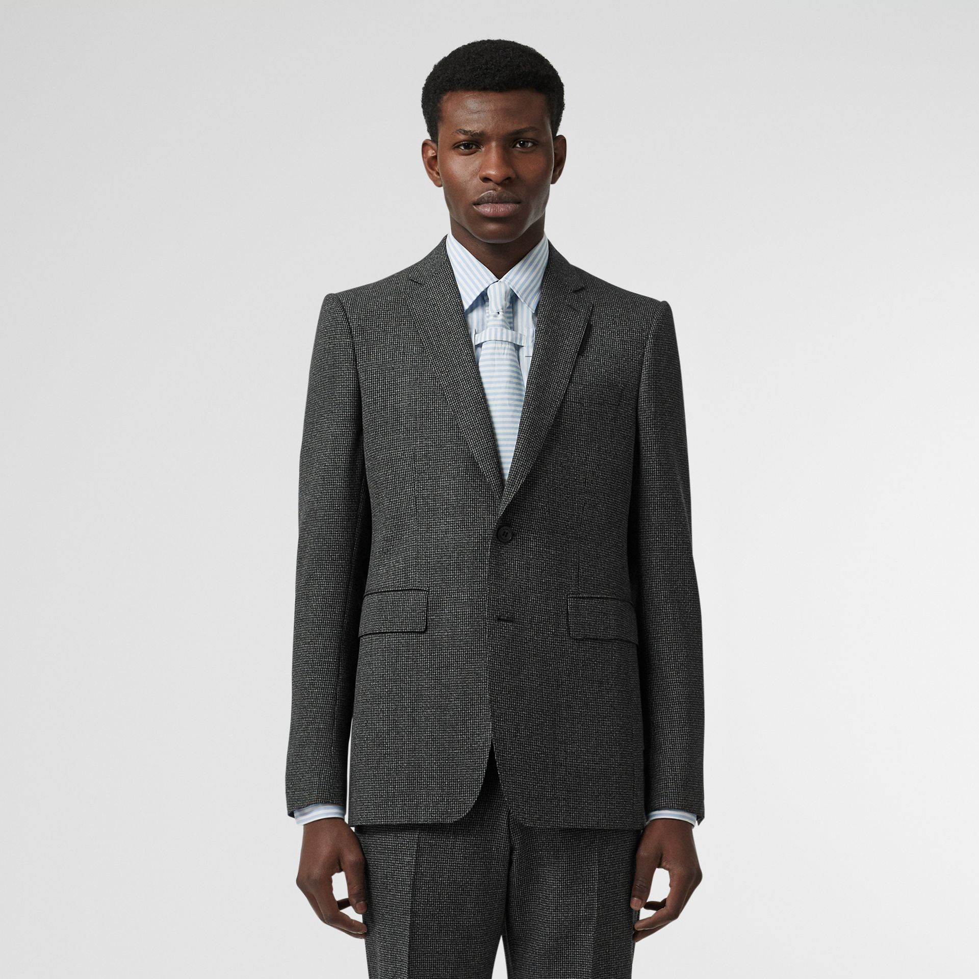 English Fit Puppytooth Check Wool Suit in Charcoal Melange - Men | Burberry - gallery image 9