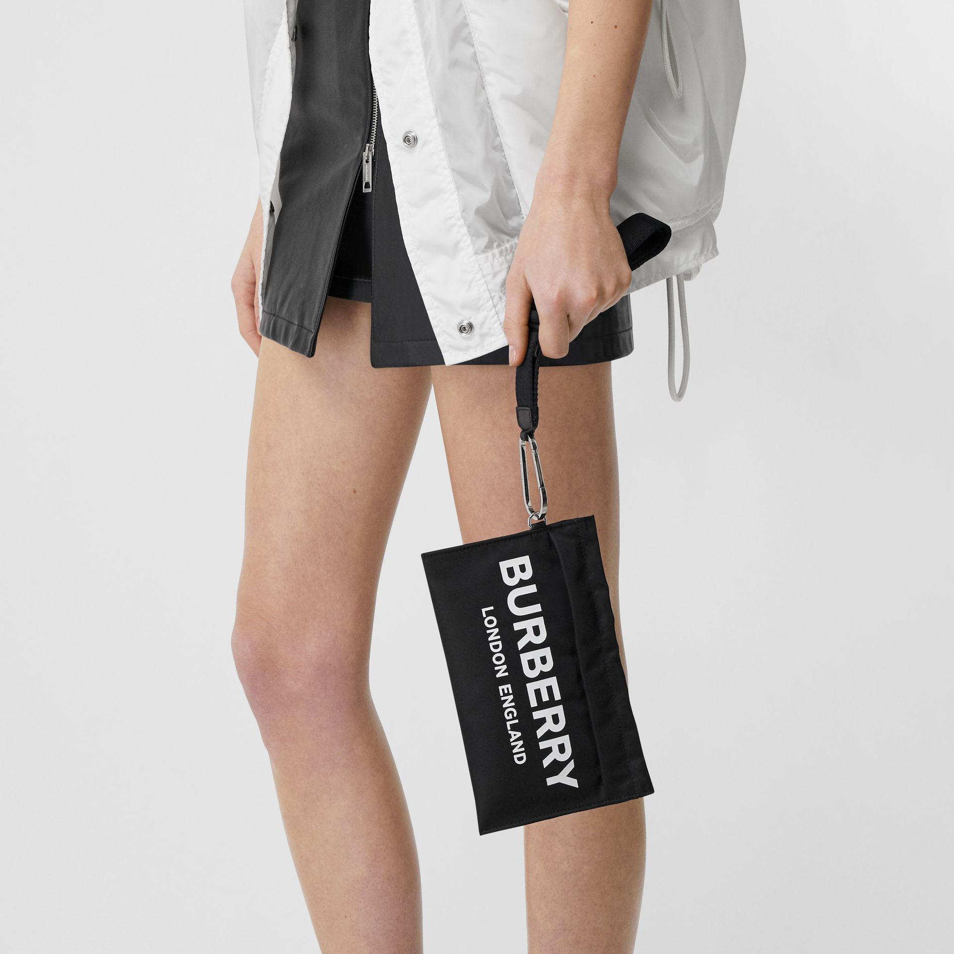 Logo Print Nylon Zip Pouch in Black - Women | Burberry United States - gallery image 2