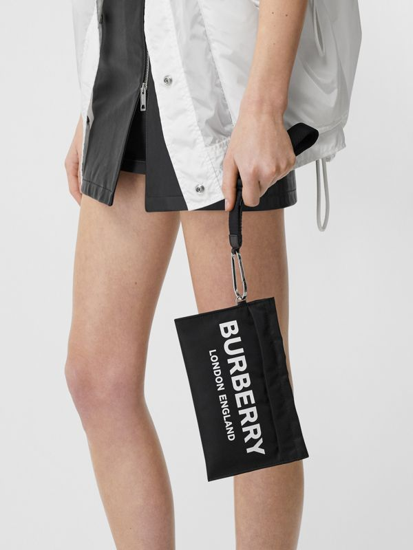 Logo Print Nylon Zip Pouch in Black - Women | Burberry United States - cell image 2