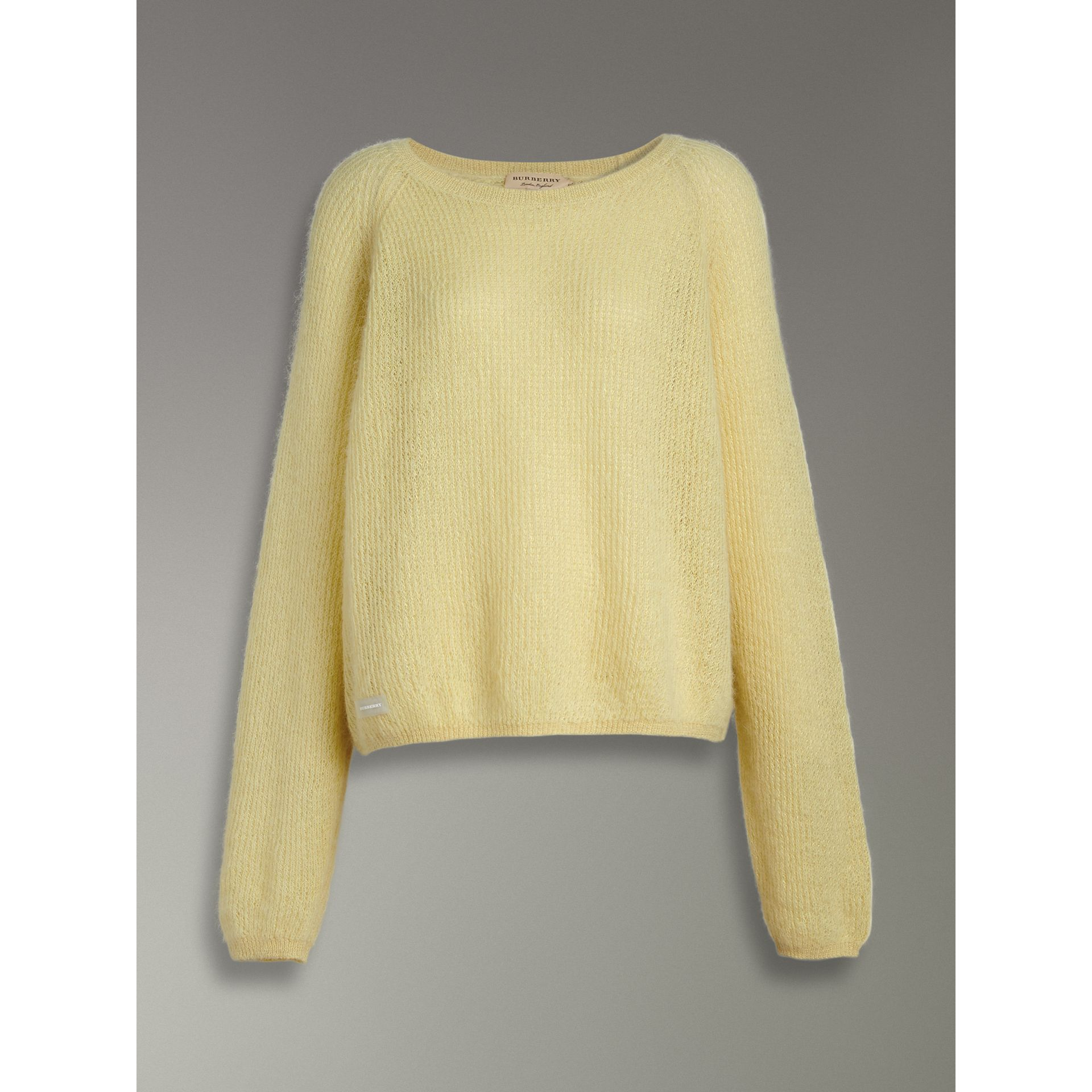Mohair Silk Blend Sweater in Yellow Barley - Women | Burberry - gallery image 3