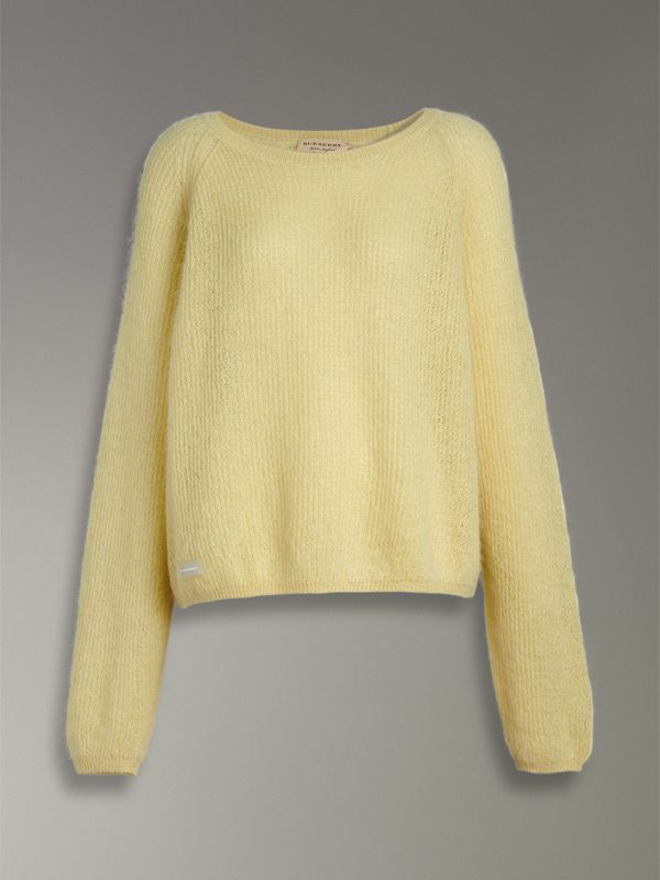 Mohair Silk Blend Sweater in Yellow Barley - Women | Burberry United Kingdom - cell image 3