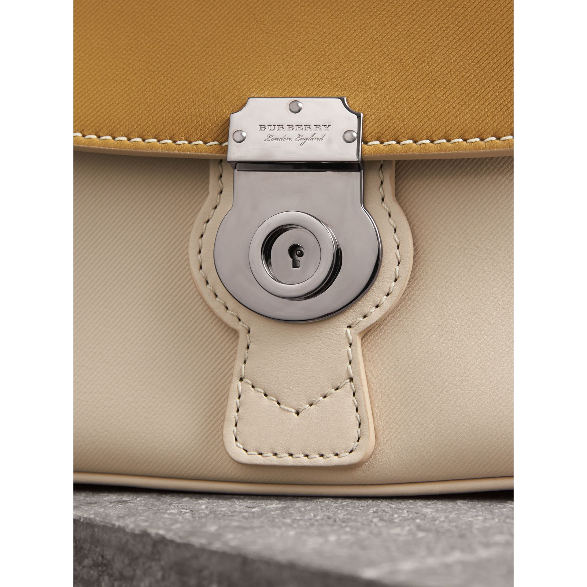 The Small DK88 Top Handle Bag with Geometric Print in Limestone/ochre Yellow - Women | Burberry United States - gallery image 2