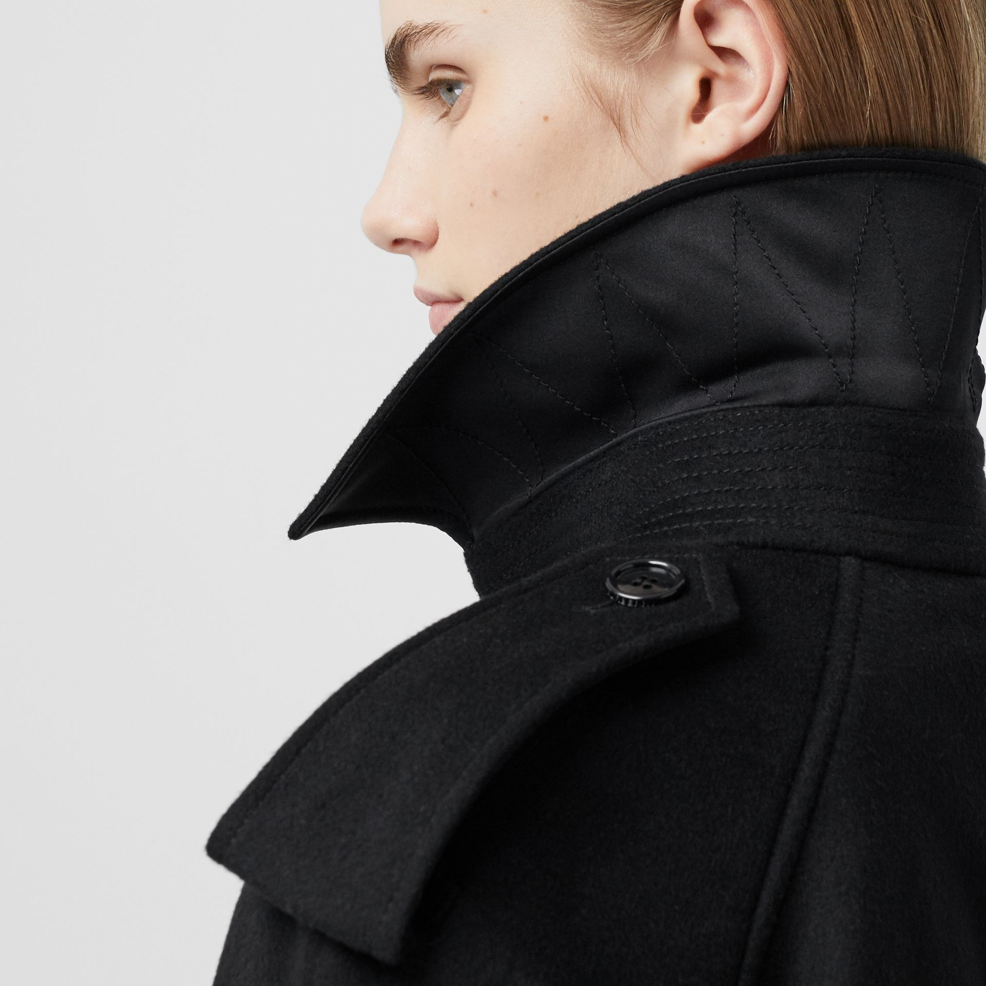 Fringed Wool Cashmere Trench Coat in Black - Women | Burberry Australia - gallery image 1